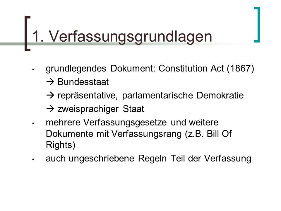 1. Verfassungsgrundlagen grundlegendes Dokument: Constitution Act (1867) Bundesstaat repräsentative, parlamentarische Demokratie zweisprachiger Staat