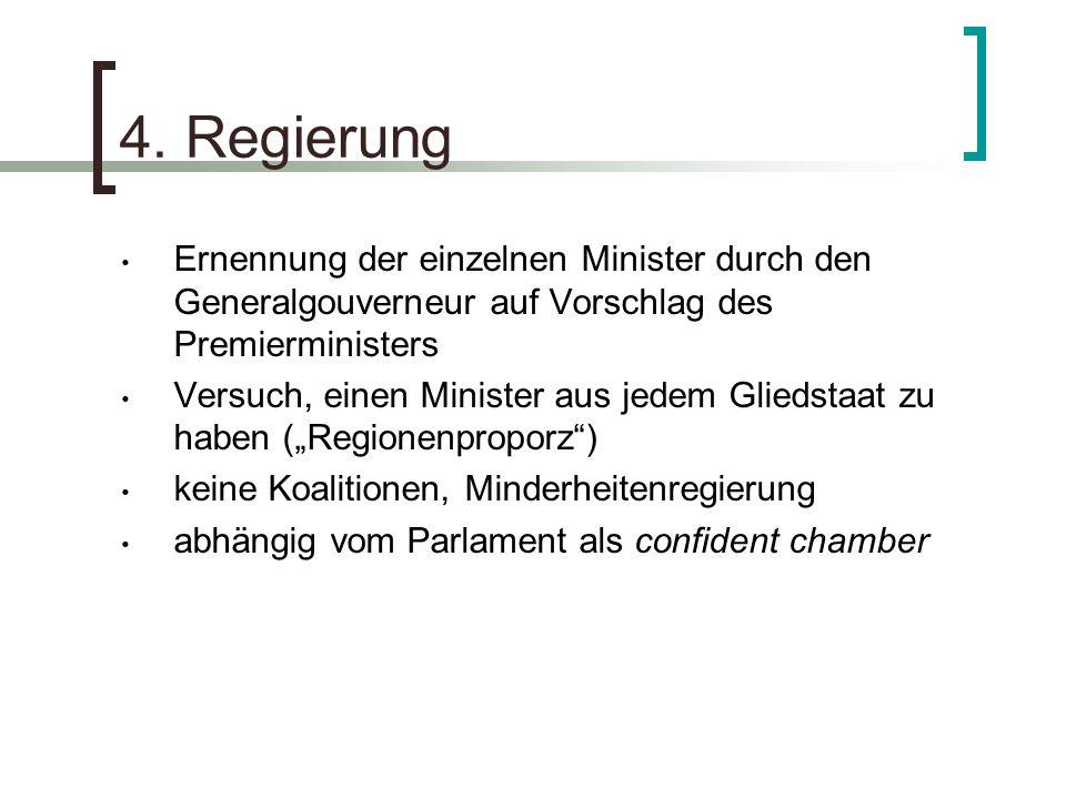 4. Regierung Ernennung der einzelnen Minister durch den Generalgouverneur auf Vorschlag des Premierministers Versuch, einen Minister aus jedem Gliedst