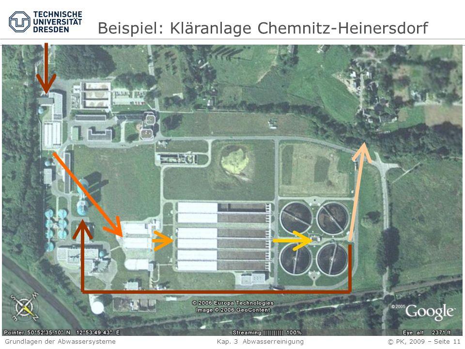 Grundlagen der Abwassersysteme Kap. 3 Abwasserreinigung © PK, 2009 – Seite 11 Beispiel: Kläranlage Chemnitz-Heinersdorf