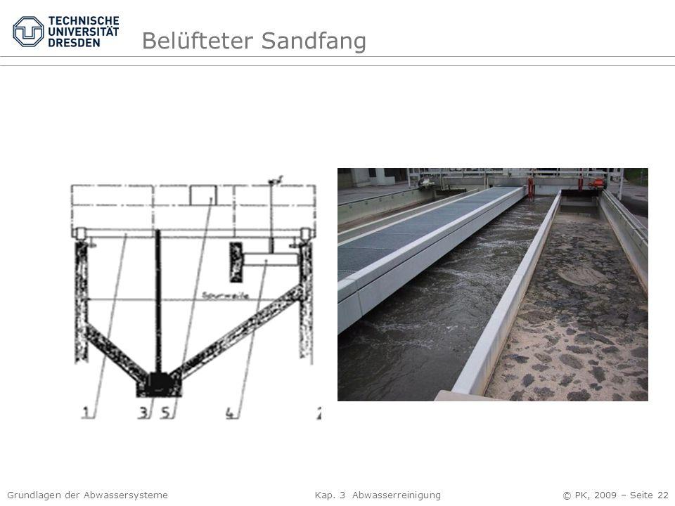 Grundlagen der Abwassersysteme Kap. 3 Abwasserreinigung © PK, 2009 – Seite 22 Belüfteter Sandfang