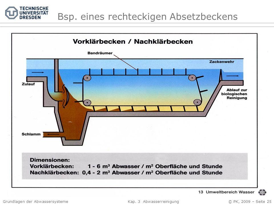 Grundlagen der Abwassersysteme Kap. 3 Abwasserreinigung © PK, 2009 – Seite 25 Bsp. eines rechteckigen Absetzbeckens