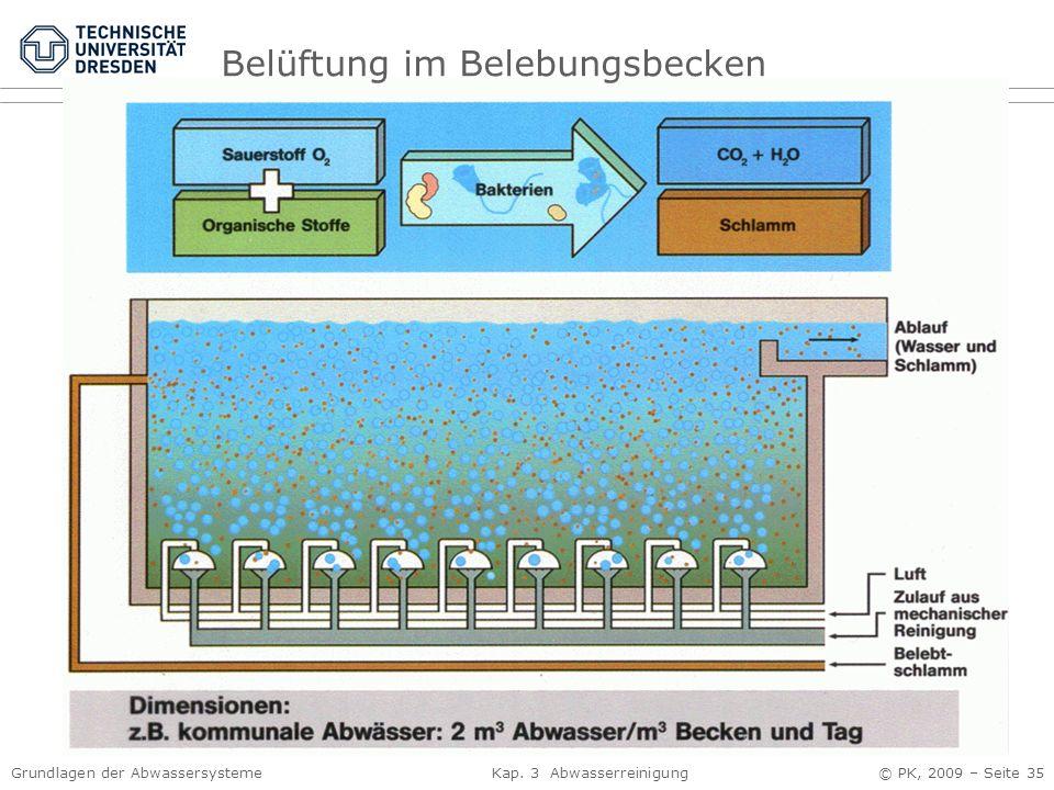 Grundlagen der Abwassersysteme Kap. 3 Abwasserreinigung © PK, 2009 – Seite 35 Belüftung im Belebungsbecken