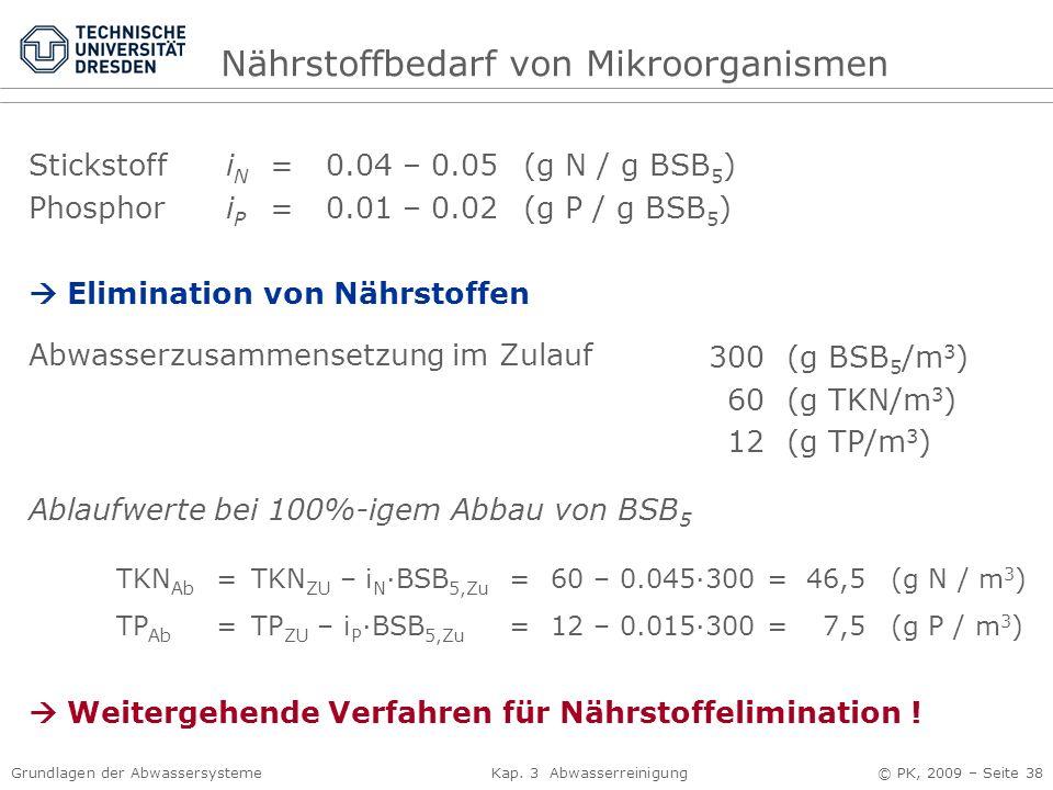 Grundlagen der Abwassersysteme Kap. 3 Abwasserreinigung © PK, 2009 – Seite 38 Stickstoff i N = 0.04 – 0.05 (g N / g BSB 5 ) Phosphor i P = 0.01 – 0.02