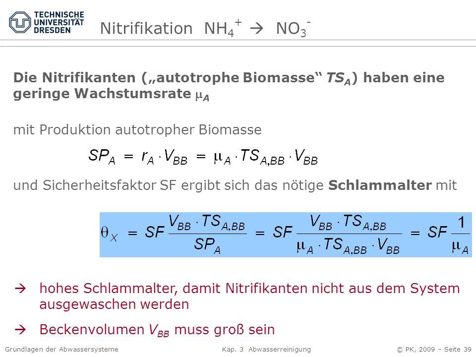 Grundlagen der Abwassersysteme Kap. 3 Abwasserreinigung © PK, 2009 – Seite 39 Die Nitrifikanten (autotrophe Biomasse TS A ) haben eine geringe Wachstu