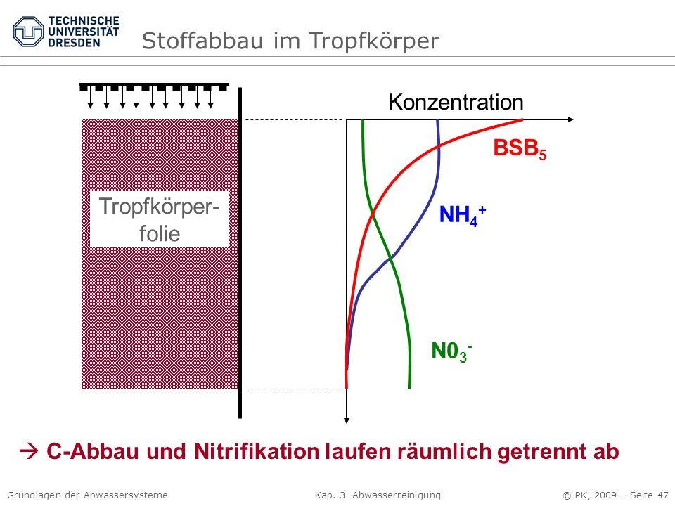Grundlagen der Abwassersysteme Kap. 3 Abwasserreinigung © PK, 2009 – Seite 47 Konzentration BSB 5 NH 4 + N0 3 - Tropfkörper- folie C-Abbau und Nitrifi
