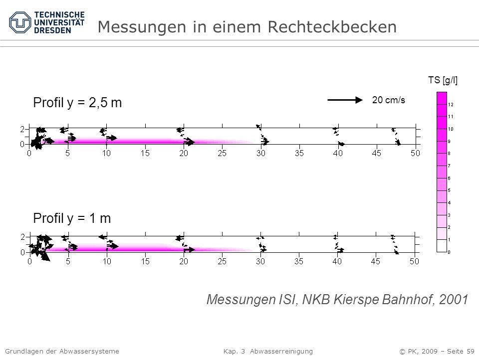 Grundlagen der Abwassersysteme Kap. 3 Abwasserreinigung © PK, 2009 – Seite 59 Messungen in einem Rechteckbecken Profil y = 2,5 m Profil y = 1 m TS [g/