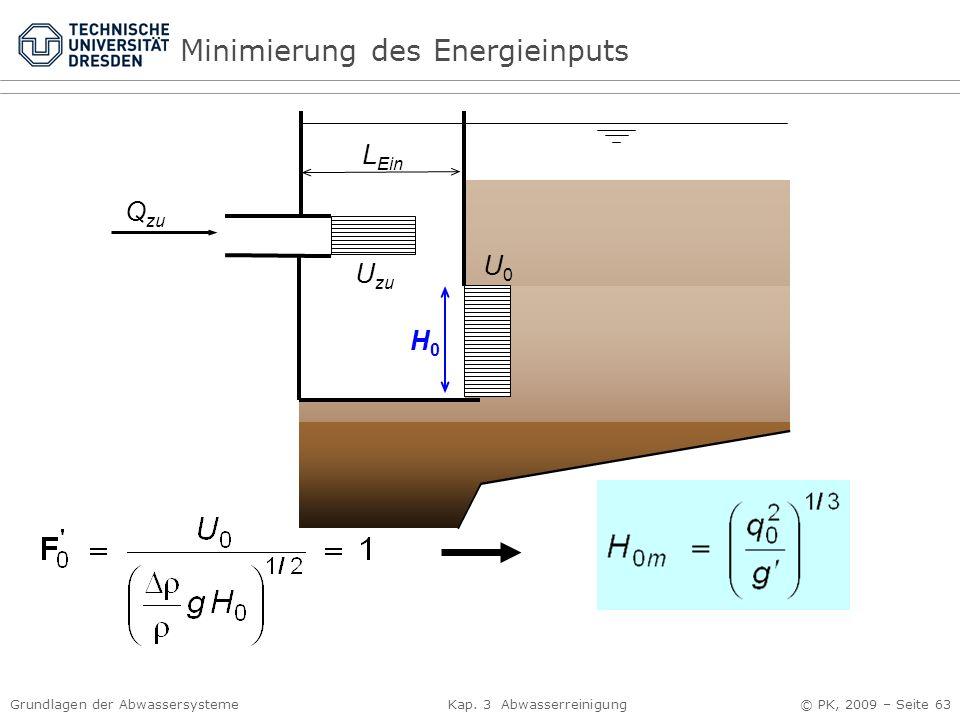 Grundlagen der Abwassersysteme Kap. 3 Abwasserreinigung © PK, 2009 – Seite 63 H0H0 L Ein U0U0 U zu Q zu Minimierung des Energieinputs