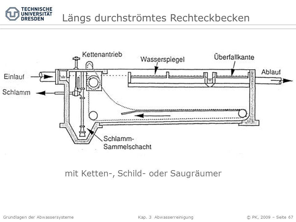 Grundlagen der Abwassersysteme Kap. 3 Abwasserreinigung © PK, 2009 – Seite 67 Längs durchströmtes Rechteckbecken mit Ketten-, Schild- oder Saugräumer