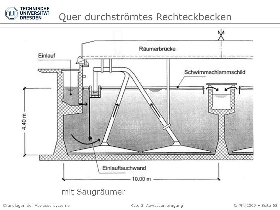 Grundlagen der Abwassersysteme Kap. 3 Abwasserreinigung © PK, 2009 – Seite 68 Quer durchströmtes Rechteckbecken mit Saugräumer