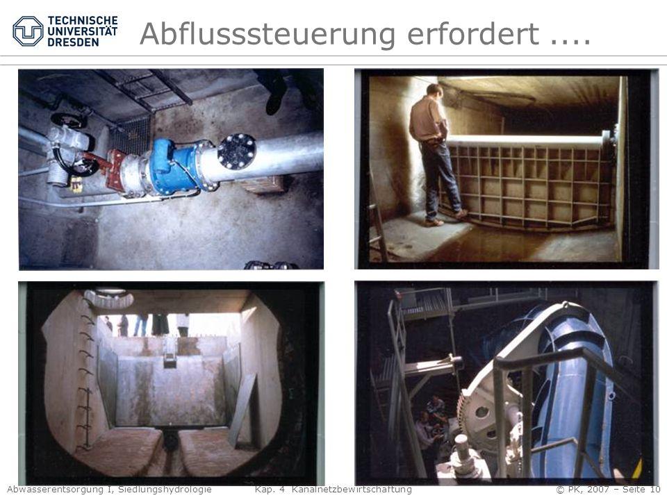 Abwasserentsorgung I, Siedlungshydrologie Kap. 4 Kanalnetzbewirtschaftung © PK, 2007 – Seite 10 Abflusssteuerung erfordert....