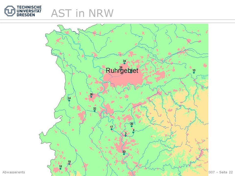 Abwasserentsorgung I, Siedlungshydrologie Kap. 4 Kanalnetzbewirtschaftung © PK, 2007 – Seite 22 AST in NRW Ruhrgebiet