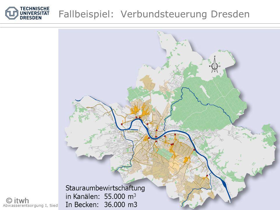Abwasserentsorgung I, Siedlungshydrologie Kap. 4 Kanalnetzbewirtschaftung © PK, 2007 – Seite 29 Fallbeispiel: Verbundsteuerung Dresden Stauraumbewirts