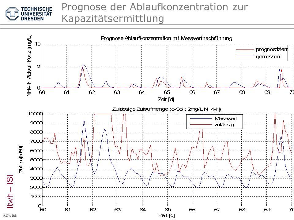 Abwasserentsorgung I, Siedlungshydrologie Kap. 4 Kanalnetzbewirtschaftung © PK, 2007 – Seite 52 Prognose der Ablaufkonzentration zur Kapazitätsermittl