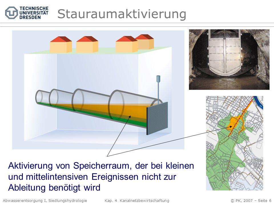 Abwasserentsorgung I, Siedlungshydrologie Kap. 4 Kanalnetzbewirtschaftung © PK, 2007 – Seite 6 Stauraumaktivierung Aktivierung von Speicherraum, der b