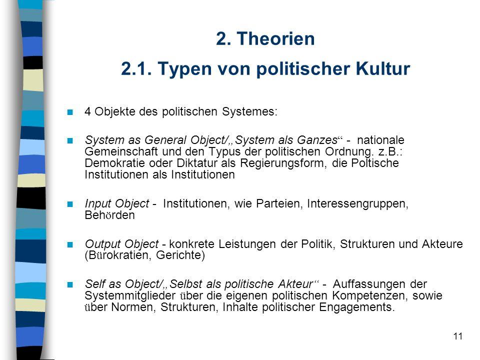 11 2. Theorien 2.1. Typen von politischer Kultur 4 Objekte des politischen Systemes: System as General Object/ System als Ganzes - nationale Gemeinsch