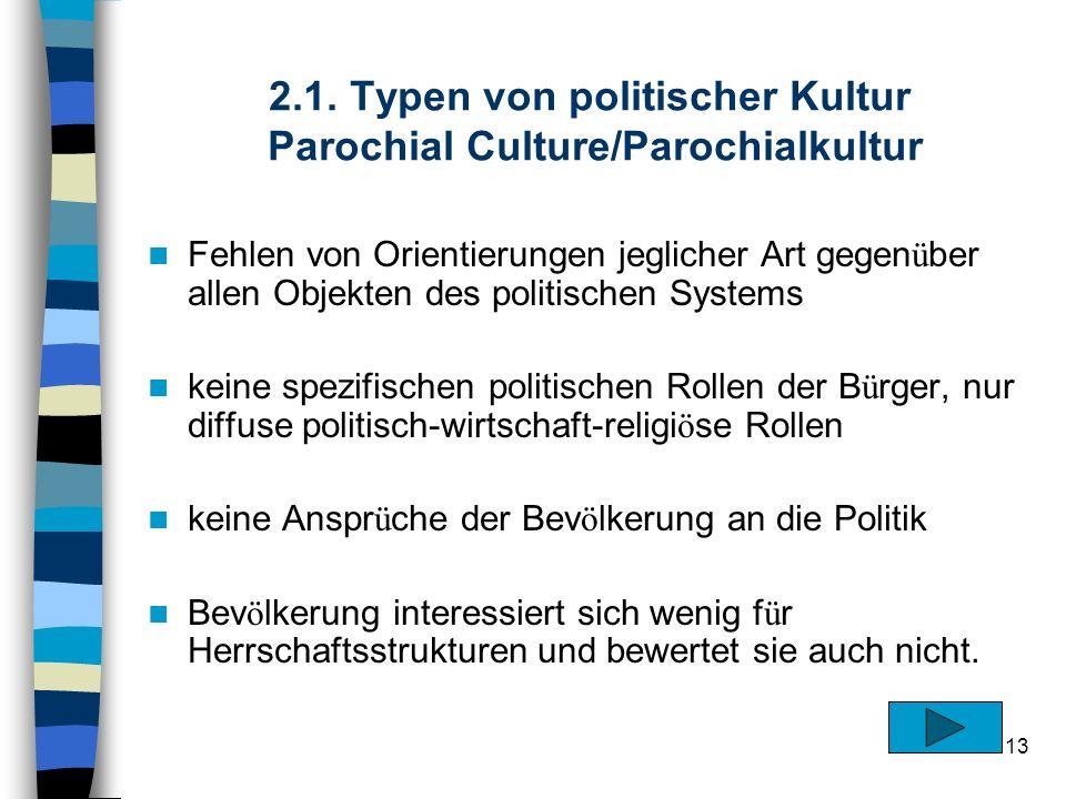 13 2.1. Typen von politischer Kultur Parochial Culture/Parochialkultur Fehlen von Orientierungen jeglicher Art gegen ü ber allen Objekten des politisc