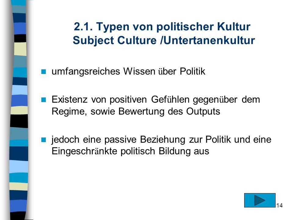 14 2.1. Typen von politischer Kultur Subject Culture /Untertanenkultur umfangsreiches Wissen ü ber Politik Existenz von positiven Gef ü hlen gegen ü b