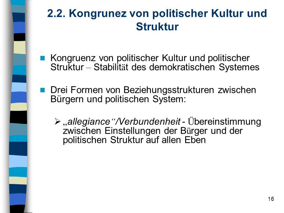 16 2.2. Kongrunez von politischer Kultur und Struktur Kongruenz von politischer Kultur und politischer Struktur – Stabilit ä t des demokratischen Syst