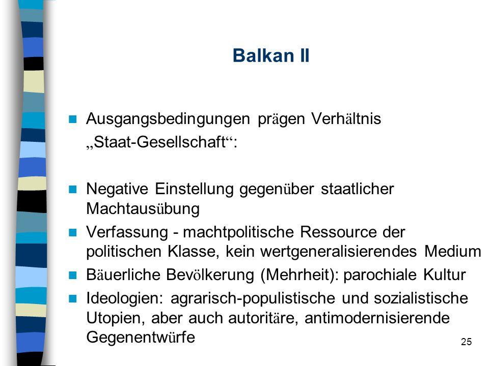 25 Balkan II Ausgangsbedingungen pr ä gen Verh ä ltnis Staat-Gesellschaft : Negative Einstellung gegen ü ber staatlicher Machtaus ü bung Verfassung -