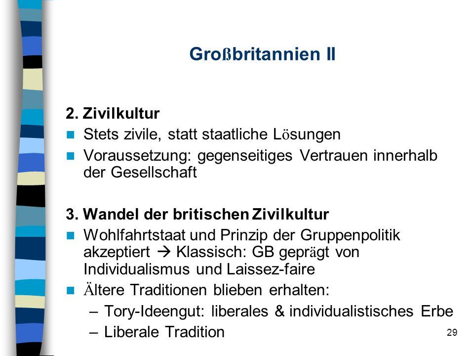 29 Gro ß britannien II 2. Zivilkultur Stets zivile, statt staatliche L ö sungen Voraussetzung: gegenseitiges Vertrauen innerhalb der Gesellschaft 3. W