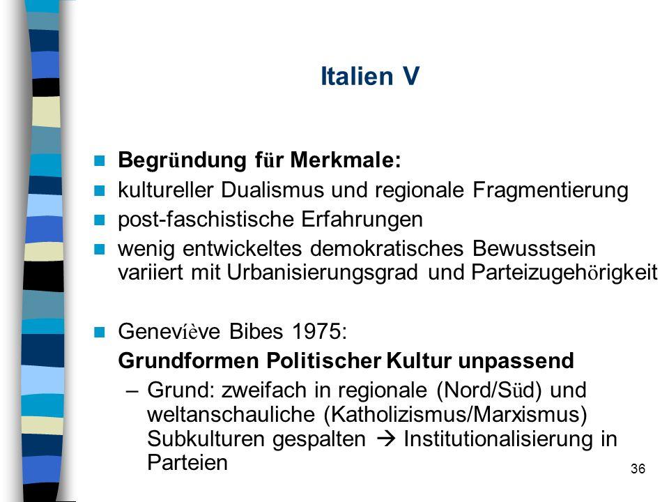 36 Italien V Begr ü ndung f ü r Merkmale: kultureller Dualismus und regionale Fragmentierung post-faschistische Erfahrungen wenig entwickeltes demokra