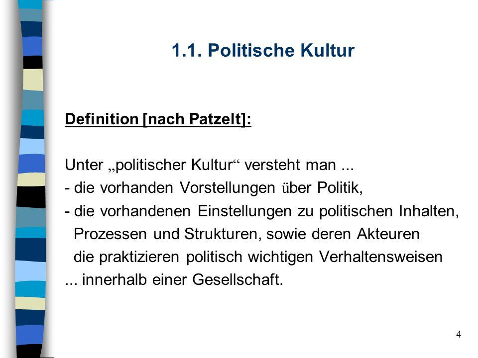 4 1.1. Politische Kultur Definition [nach Patzelt]: Unter politischer Kultur versteht man... - die vorhanden Vorstellungen ü ber Politik, - die vorhan