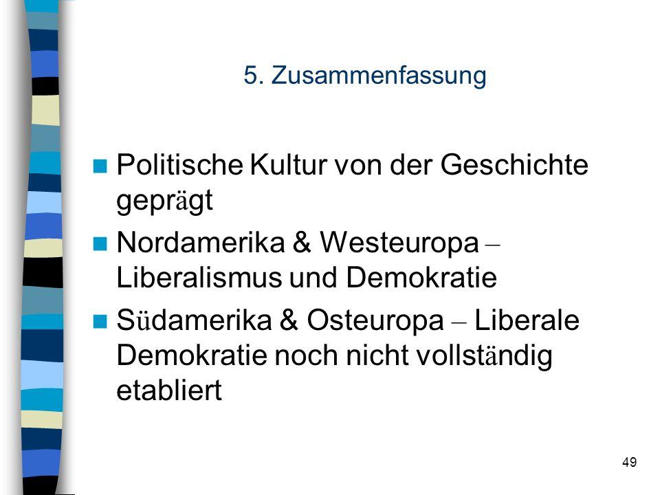 49 5. Zusammenfassung Politische Kultur von der Geschichte gepr ä gt Nordamerika & Westeuropa – Liberalismus und Demokratie S ü damerika & Osteuropa –