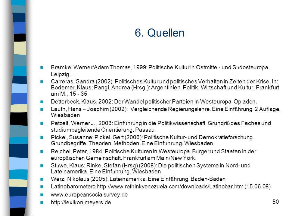 50 6. Quellen Bramke, Werner/Adam Thomas, 1999: Politische Kultur in Ostmittel- und S ü dosteuropa. Leipzig. Carreras, Sandra (2002): Politisches Kult