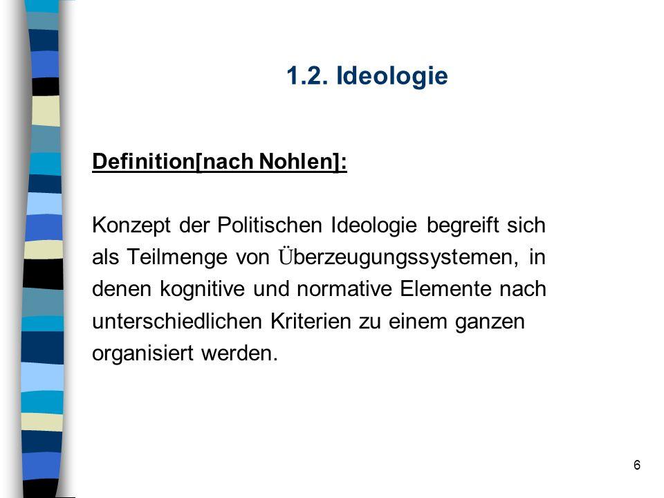 6 1.2. Ideologie Definition[nach Nohlen]: Konzept der Politischen Ideologie begreift sich als Teilmenge von Ü berzeugungssystemen, in denen kognitive