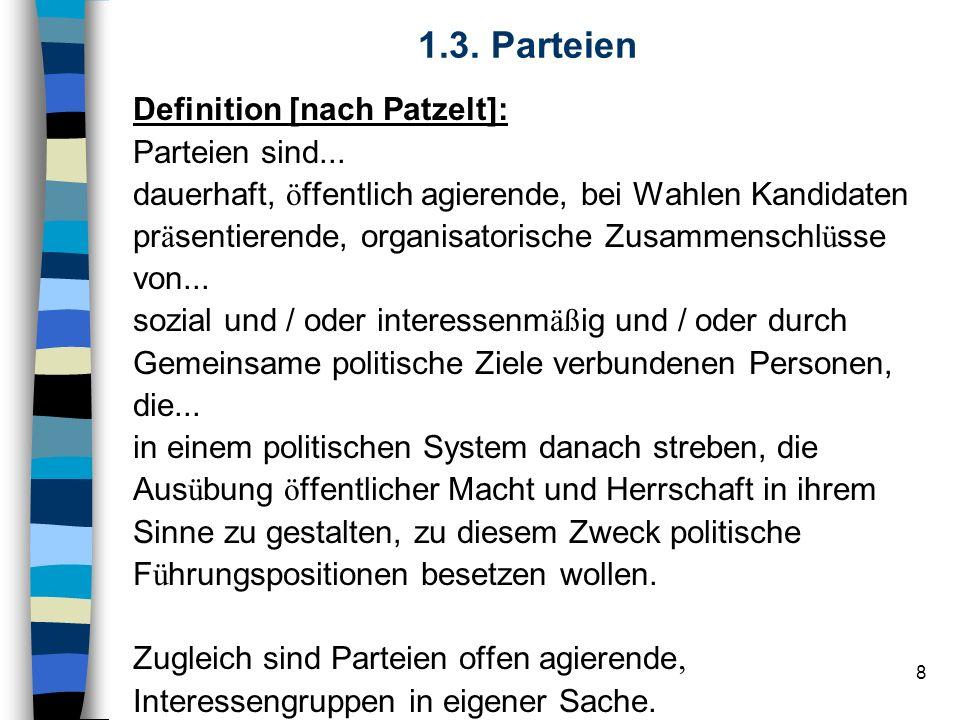 8 1.3. Parteien Definition [nach Patzelt]: Parteien sind... dauerhaft, ö ffentlich agierende, bei Wahlen Kandidaten pr ä sentierende, organisatorische