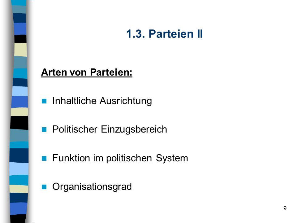 9 1.3. Parteien II Arten von Parteien: Inhaltliche Ausrichtung Politischer Einzugsbereich Funktion im politischen System Organisationsgrad