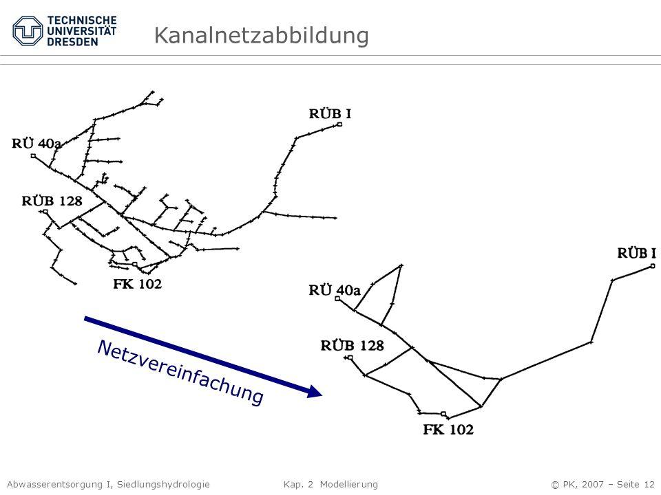 Abwasserentsorgung I, Siedlungshydrologie Kap. 2 Modellierung © PK, 2007 – Seite 12 Kanalnetzabbildung Netzvereinfachung