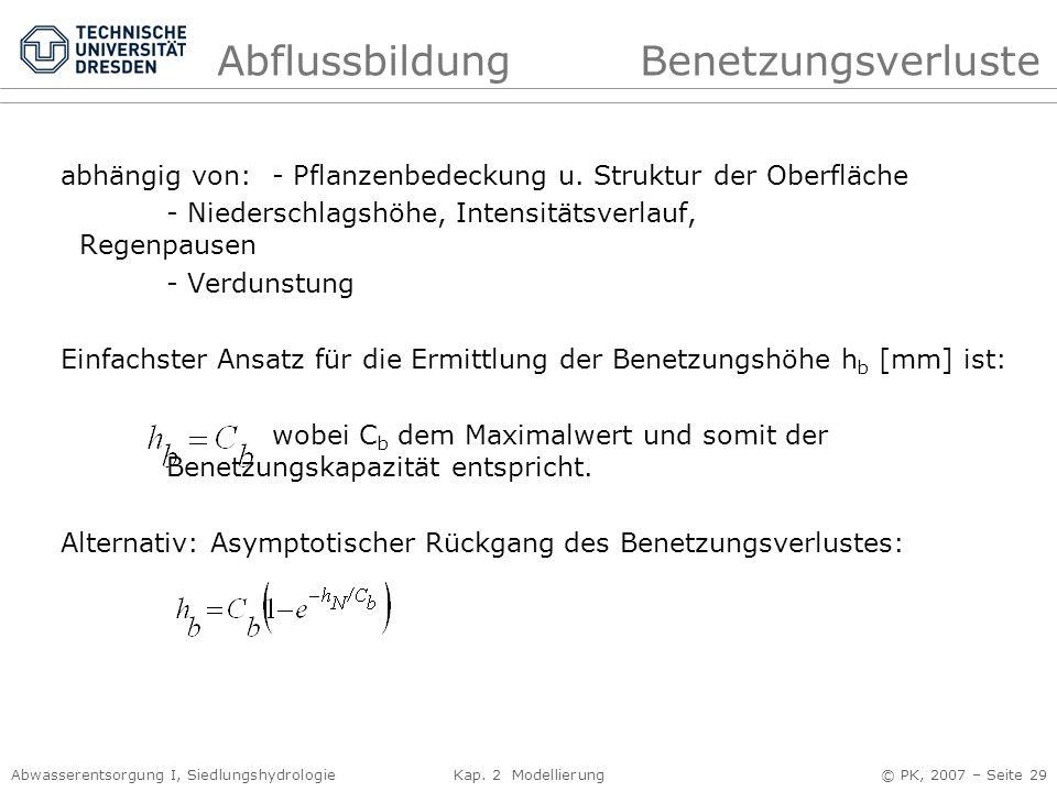 Abwasserentsorgung I, Siedlungshydrologie Kap. 2 Modellierung © PK, 2007 – Seite 29 abhängig von:- Pflanzenbedeckung u. Struktur der Oberfläche - Nied