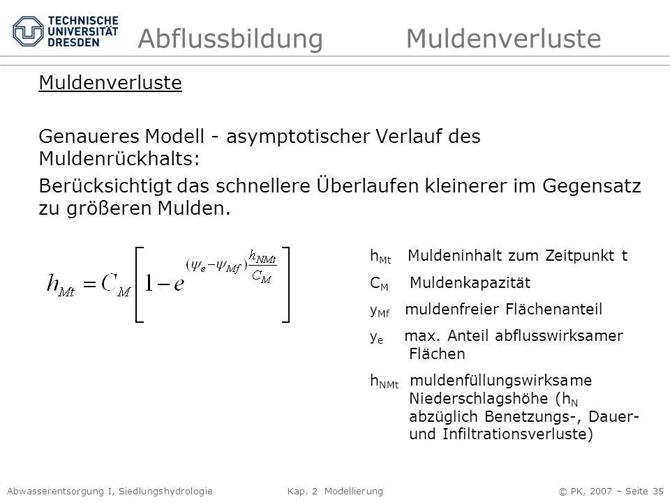 Abwasserentsorgung I, Siedlungshydrologie Kap. 2 Modellierung © PK, 2007 – Seite 35 AbflussbildungMuldenverluste Muldenverluste Genaueres Modell - asy