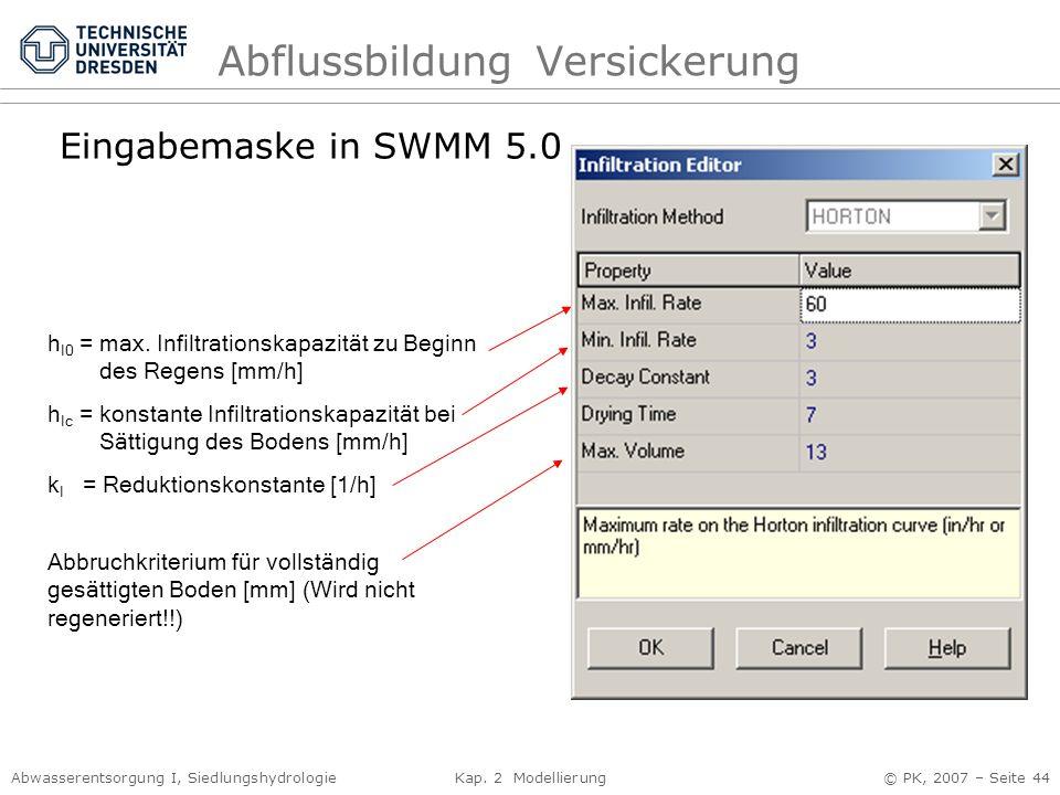 Abwasserentsorgung I, Siedlungshydrologie Kap. 2 Modellierung © PK, 2007 – Seite 44 AbflussbildungVersickerung Eingabemaske in SWMM 5.0 h I0 = max. In