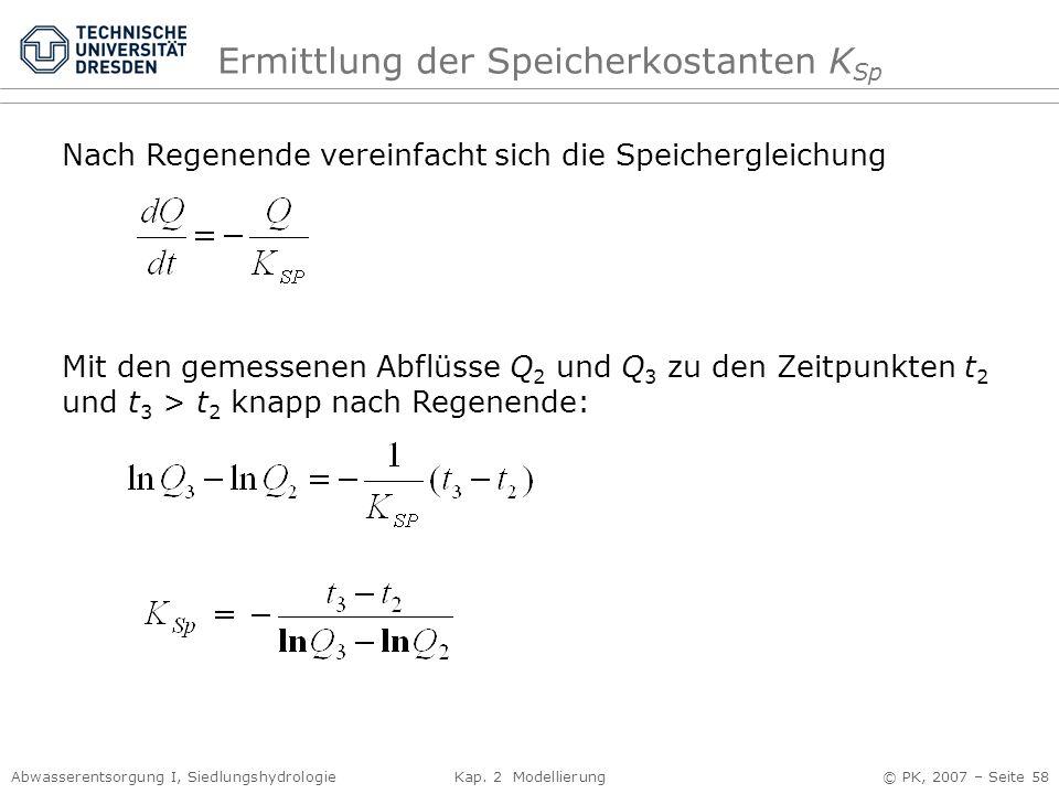 Abwasserentsorgung I, Siedlungshydrologie Kap. 2 Modellierung © PK, 2007 – Seite 58 Ermittlung der Speicherkostanten K Sp Nach Regenende vereinfacht s