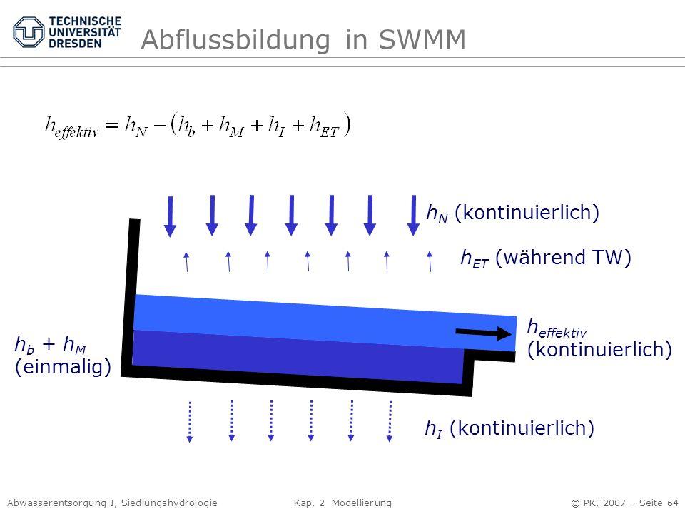 Abwasserentsorgung I, Siedlungshydrologie Kap. 2 Modellierung © PK, 2007 – Seite 64 Abflussbildung in SWMM h I (kontinuierlich) h N (kontinuierlich) h