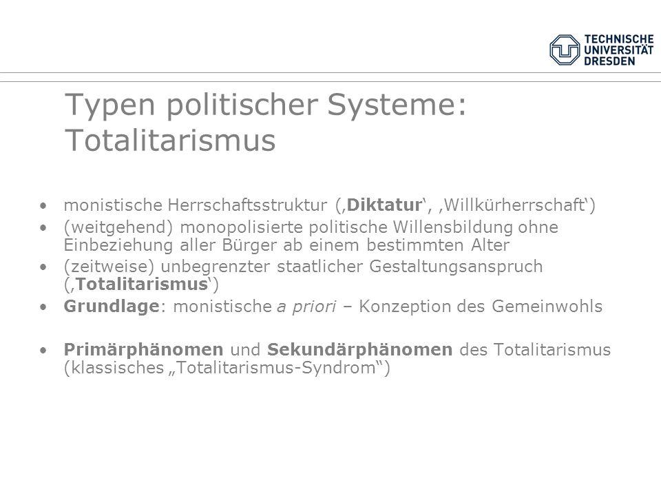 Typen politischer Systeme: Autoritarismus keine gewaltenteilende Herrschaftsstruktur (Diktatur, Willkürherrschaft) (ziemlich) monopolisierte politisch