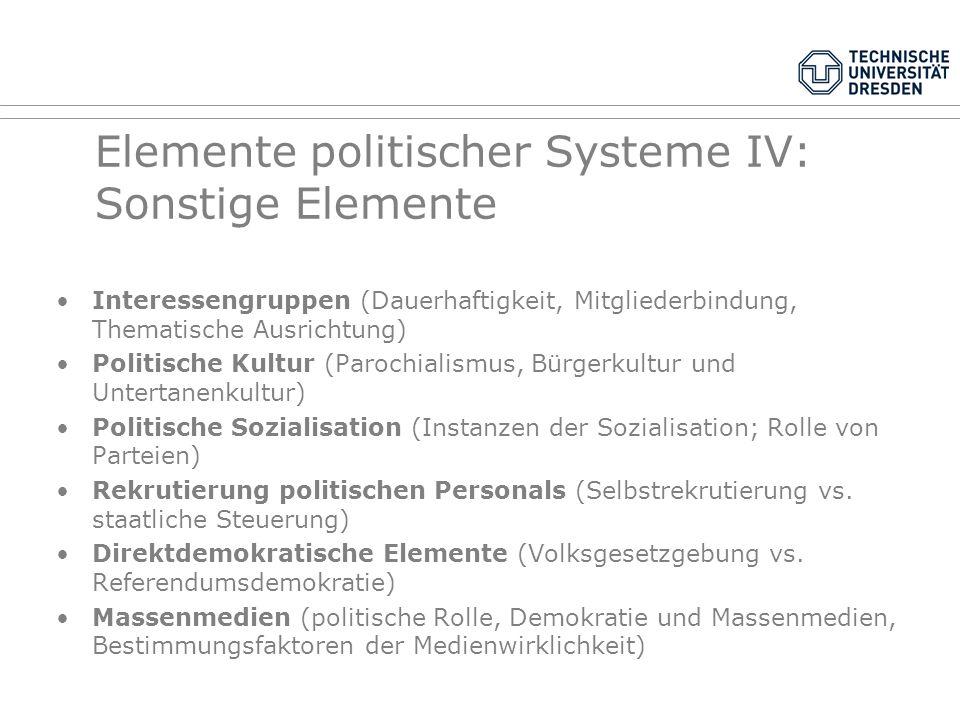 Elemente politischer Systeme III: Parteien Parteien und Wahlsysteme: Verhältniswahlrecht ohne Sperrklausel: viele, auch kleine Parteien Verhältniswahl