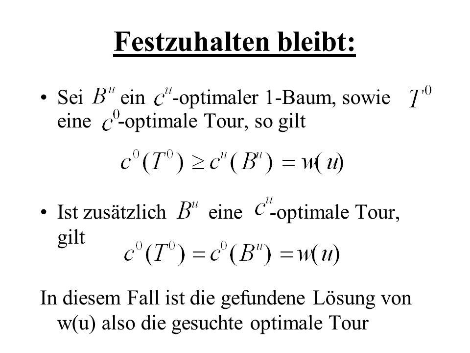 Festzuhalten bleibt: Sei ein -optimaler 1-Baum, sowie eine -optimale Tour, so gilt Ist zusätzlich eine -optimale Tour, gilt In diesem Fall ist die gef