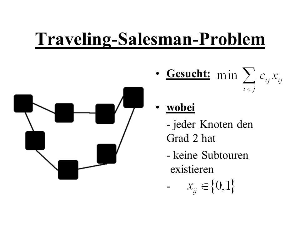 Definition: 1-Baum Ein Teilgraph B von G wird 1- Baum genannt, falls: a) Knoten 1 mit genau zwei Kanten (1,i) und (1,j) inzident ist b) der Graph B\{1} ist ein Gerüst auf G\{1} => jede Tour ist ein 1-Baum => Ein 1-Baum ist genau dann eine Tour, falls jeder Knoten den Grad 2 hat.