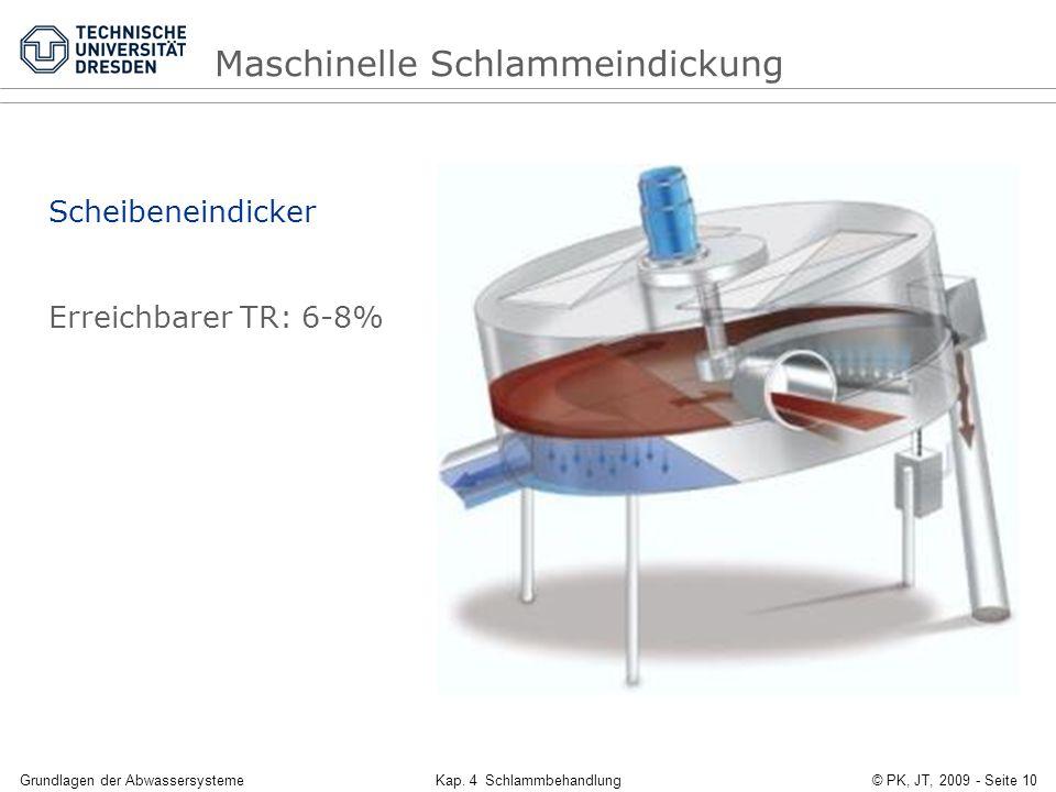 Grundlagen der AbwassersystemeKap. 4 Schlammbehandlung© PK, JT, 2009 - Seite 10 Scheibeneindicker Erreichbarer TR: 6-8% Maschinelle Schlammeindickung