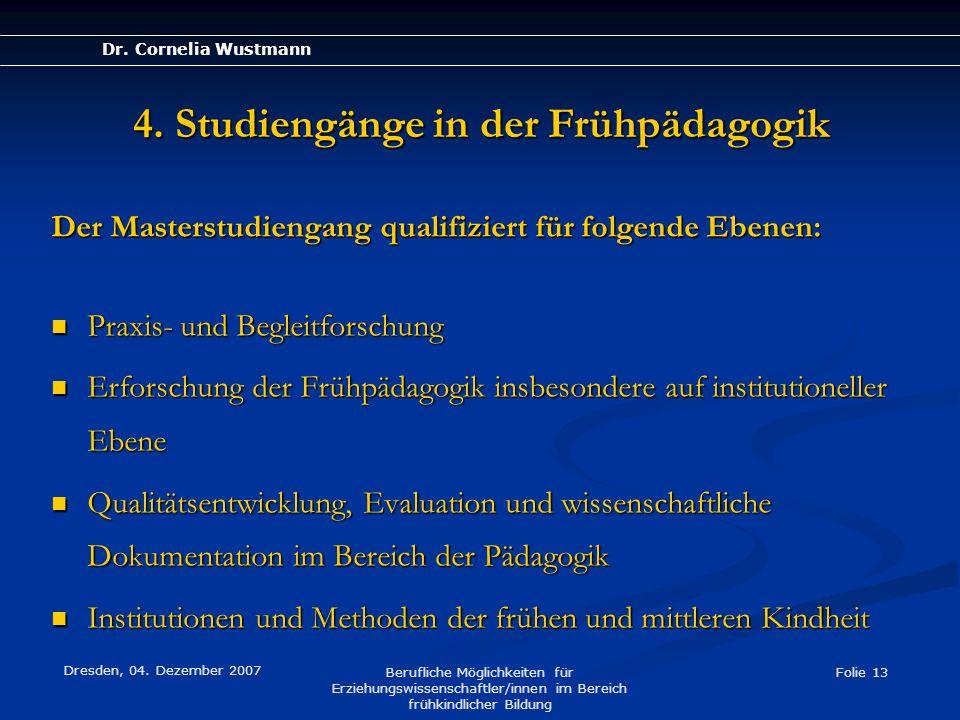 Dr. Cornelia Wustmann Dresden, 04. Dezember 2007 Berufliche Möglichkeiten für Erziehungswissenschaftler/innen im Bereich frühkindlicher Bildung Folie