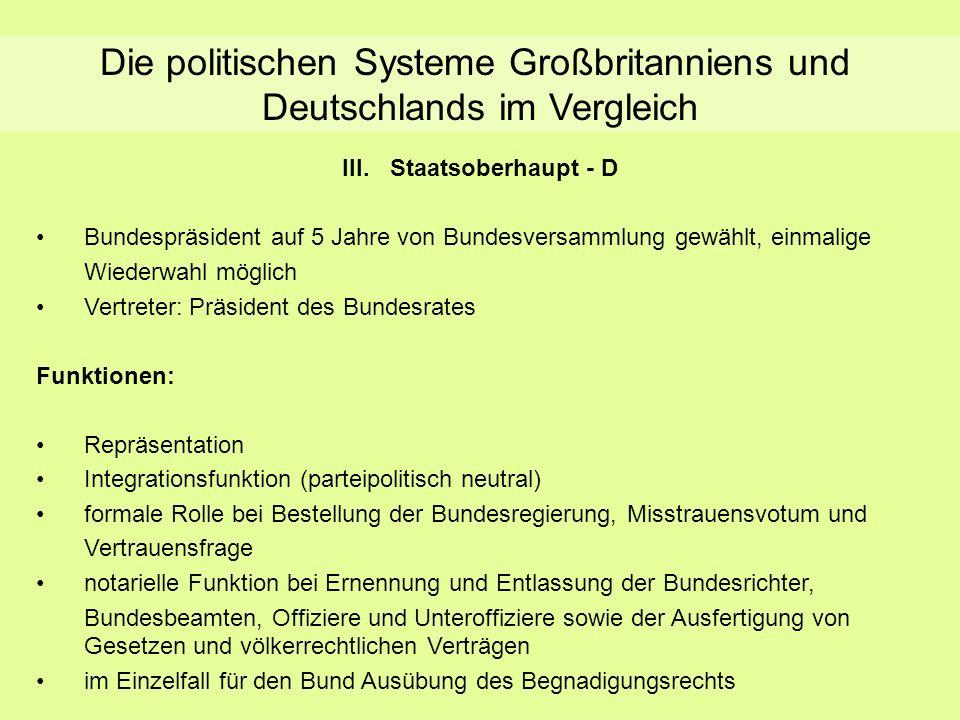 Die politischen Systeme Großbritanniens und Deutschlands im Vergleich III.Staatsoberhaupt - D Bundespräsident auf 5 Jahre von Bundesversammlung gewähl
