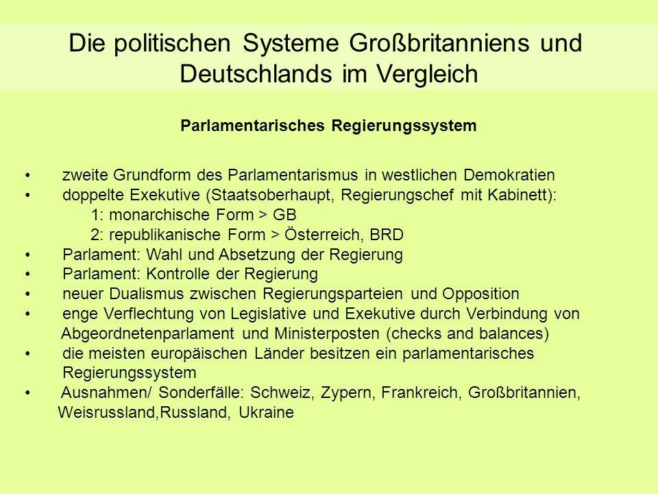 Die politischen Systeme Großbritanniens und Deutschlands im Vergleich Parlamentarisches Regierungssystem zweite Grundform des Parlamentarismus in west