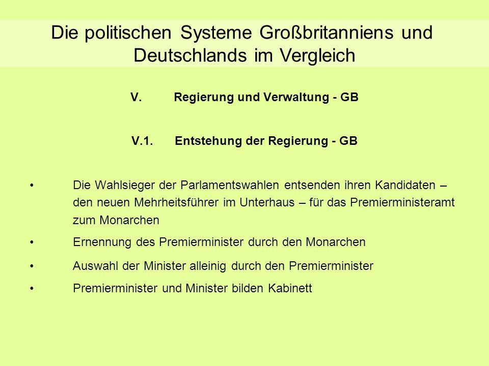 Entstehung der Regierung - GB V.Regierung und Verwaltung - GB V.1.Entstehung der Regierung - GB Die Wahlsieger der Parlamentswahlen entsenden ihren Ka