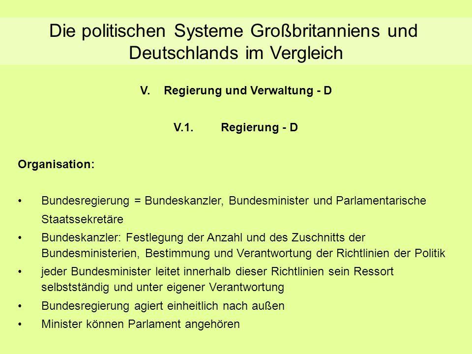 Die politischen Systeme Großbritanniens und Deutschlands im Vergleich V.Regierung und Verwaltung - D V.1.Regierung - D Organisation: Bundesregierung =
