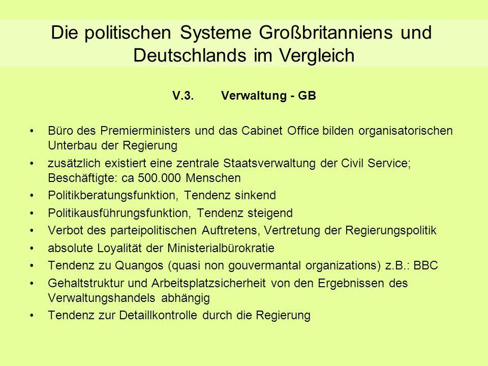 Verwaltung - GB V.3.Verwaltung - GB Büro des Premierministers und das Cabinet Office bilden organisatorischen Unterbau der Regierung zusätzlich existi
