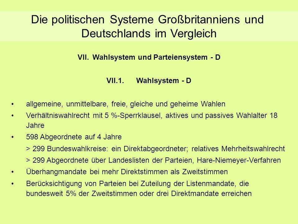 Die politischen Systeme Großbritanniens und Deutschlands im Vergleich VII.Wahlsystem und Parteiensystem - D VII.1.Wahlsystem - D allgemeine, unmittelb