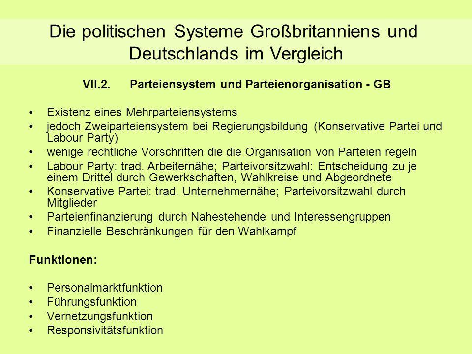 Parteiensystem und Parteienorganisation - GB VII.2.Parteiensystem und Parteienorganisation - GB Existenz eines Mehrparteiensystems jedoch Zweiparteien